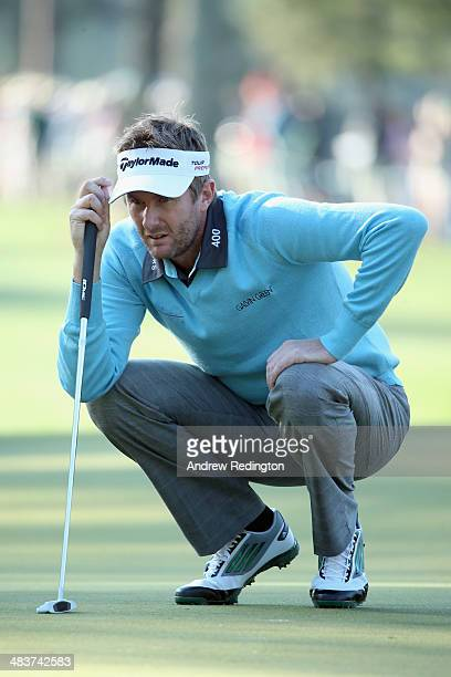 David Lynn of England waits on the first green during the first round of the 2014 Masters Tournament at Augusta National Golf Club on April 10 2014...