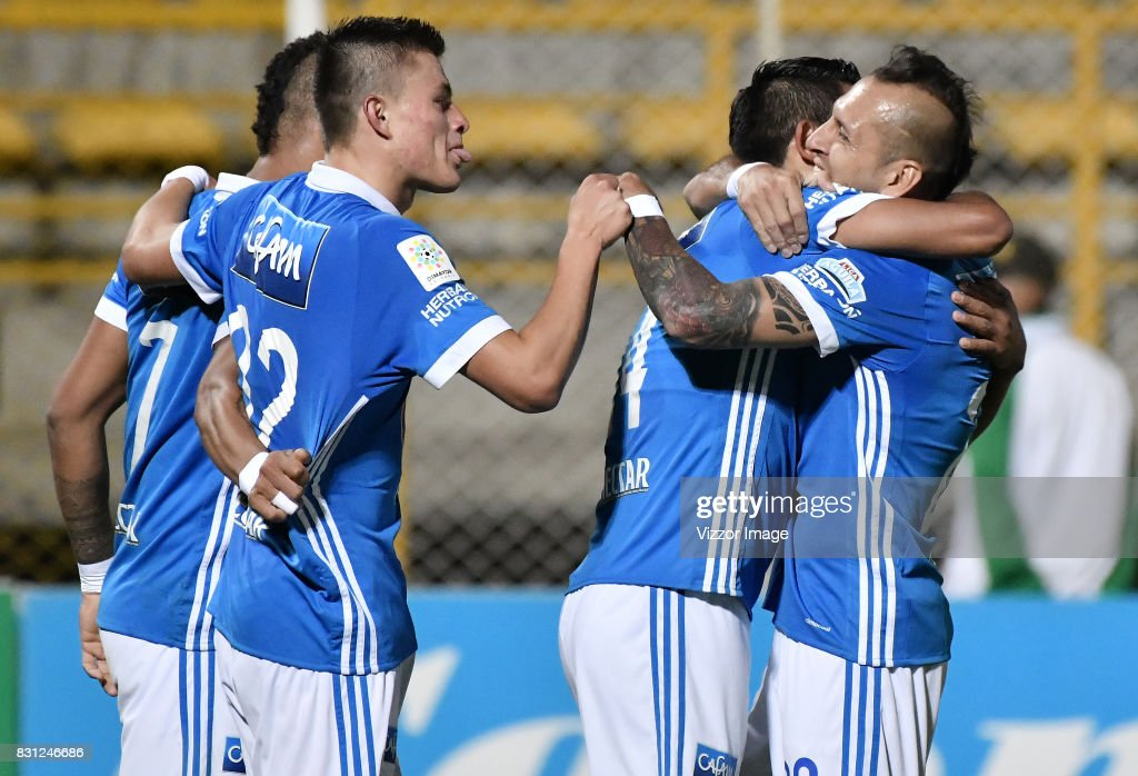 David Macalister Silva and teammates celebrate his goal during a match between La Equidad and Millonarios as part of round 7 of Liga Aguila II at Estadio Metropolitano de Techo on August 12, 2017 in Bogota, Colombia.