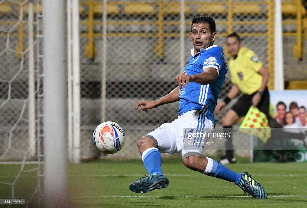 David Macalister Silva scores during a match between La Equidad and Millonarios as part of round 7 of Liga Aguila II at Estadio Metropolitano de Techo on August 12, 2017 in Bogota, Colombia.