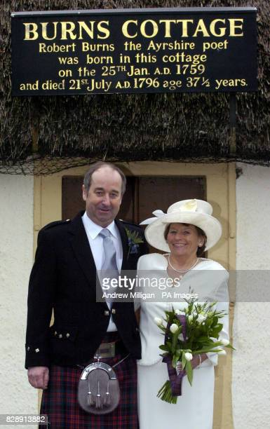 David MacDonald his bride Sheila McNaughton smile after getting married in the cottage in Alloway Ayrshire where celebrated Scottish poet Robert...