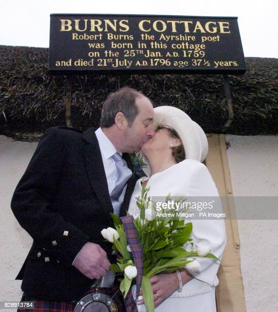 David MacDonald kisses his bride Sheila McNaughton after getting married in the cottage in Alloway Ayrshire where celebrated Scottish poet Robert...