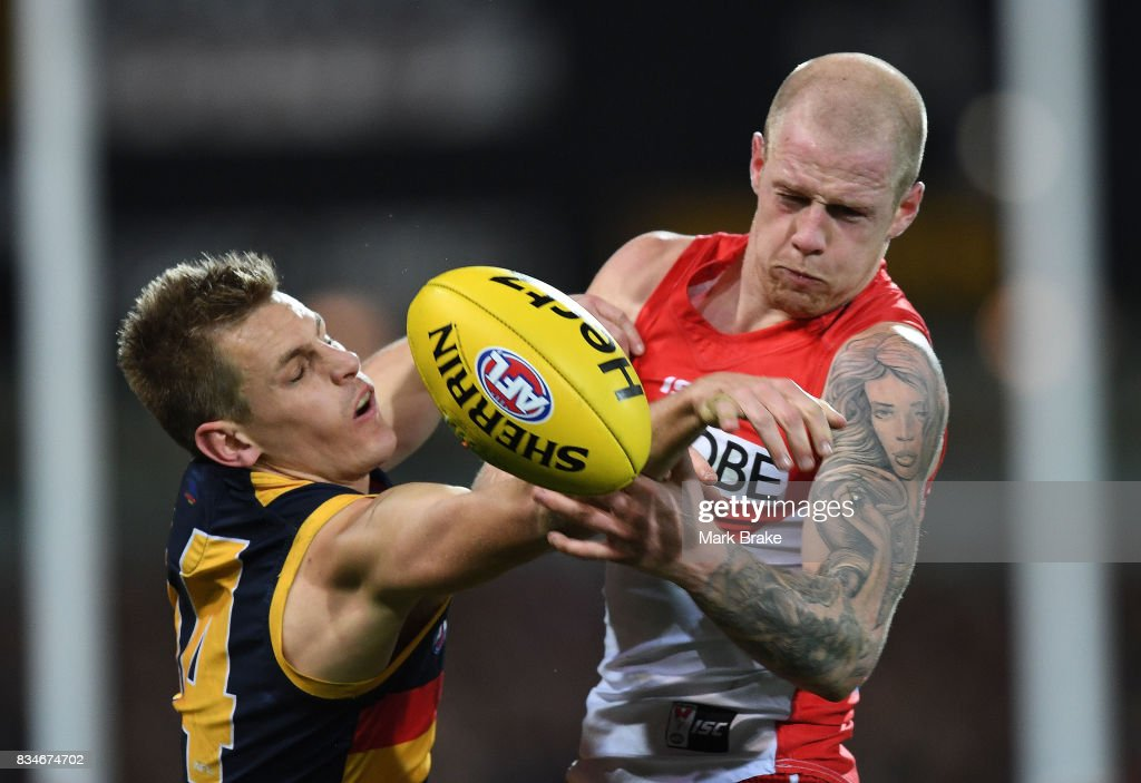 David Mackayof the Crows and Zak Jones of the Swans competes during the round 22 AFL match between the Adelaide Crows and the Sydney Swans at Adelaide Oval on August 18, 2017 in Adelaide, Australia.