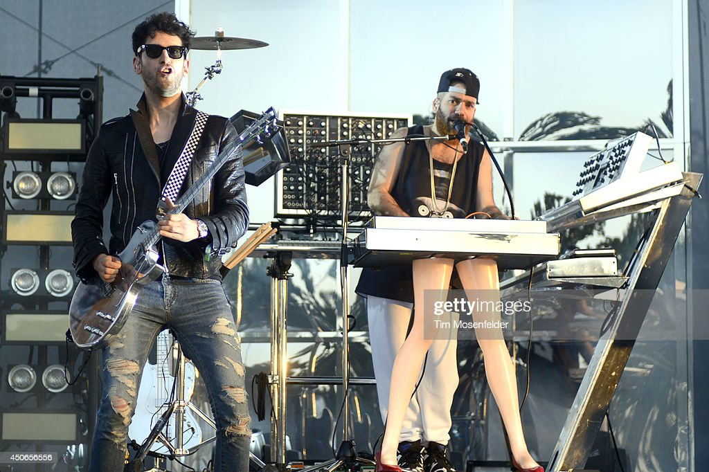 David Macklovitch (L) and Patrick Gemayel of Chromeo perform during the 2014 Bonnaroo Music & Arts Festival on June 14, 2014 in Manchester, Tennessee.