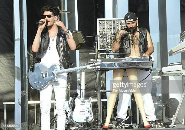 David Macklovitch and Patrick Gemayel of Chromeo perform during the Pemberton Music Festival on July 18 2015 in Pemberton Canada
