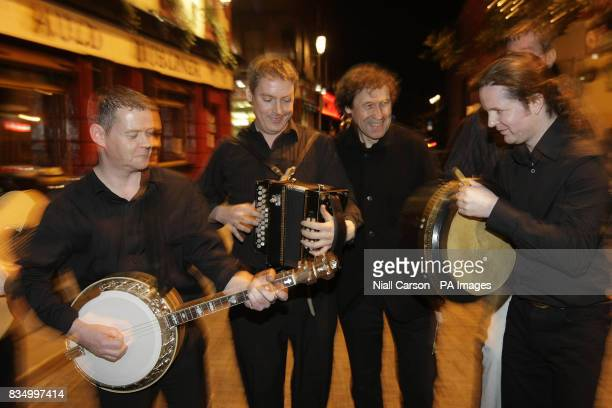 David MacNevin Tomas O'Briain Patron of the festival Stephen Rea Stephen Leech and Neill Lyons at the launch of the Temple Bar TradFest which is...
