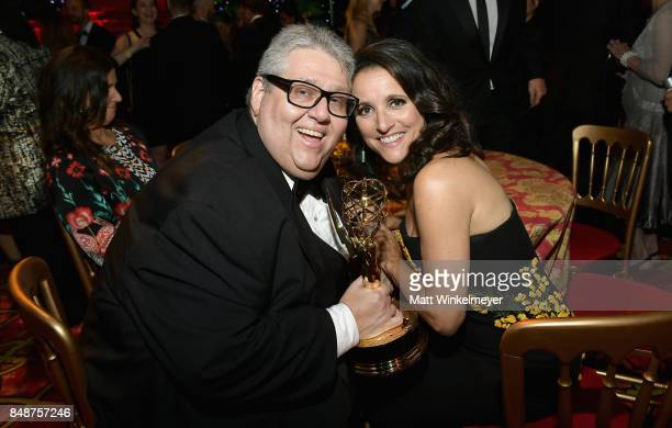 David Mandel and Julia LouisDreyfus attend HBO's Post Emmy Awards Reception at The Plaza at the Pacific Design Center on September 17 2017 in Los...