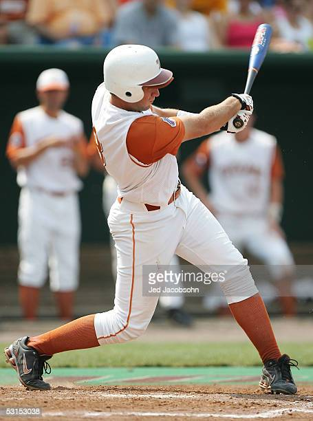 David Maroul of the Texas Longhorns hits a three run home run against the Florida Gators during Game 2 of the championship series of the 59th College...