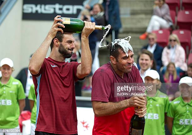 David Marrero and Marcel Granollers of Spain celebrate after winning the final tennis match at the Swedish Open in Bastad on July 17 2016 AGENCY /...