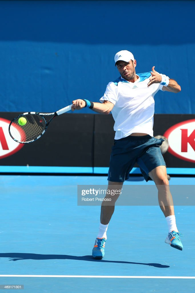 <a gi-track='captionPersonalityLinkClicked' href=/galleries/search?phrase=David+Marrero&family=editorial&specificpeople=5357971 ng-click='$event.stopPropagation()'>David Marrero</a> of Spain plays a backhand in his men's first round match with Fernando Verdasco of Spain against James Duckworth of Australia and Matthew Ebden of Australia during day five of the 2014 Australian Open at Melbourne Park on January 17, 2014 in Melbourne, Australia.