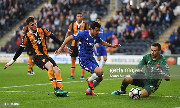 David Marshall of Hull City makes a save during the Premier League match between Hull City and Chelsea at KCOM Stadium on October 1 2016 in Hull...