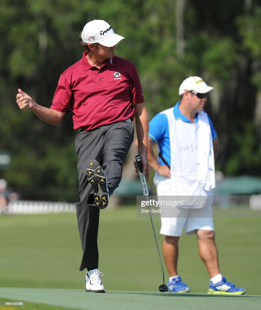 <a gi-track='captionPersonalityLinkClicked' href=/galleries/search?phrase=David+Mathis&family=editorial&specificpeople=4461718 ng-click='$event.stopPropagation()'>David Mathis</a> kicks up his foot after hitting his putt on the 17th hole during the first round of THE PLAYERS Championship on THE PLAYERS Stadium Course at TPC Sawgrass on May 9, 2013 in Ponte Vedra Beach, Florida.