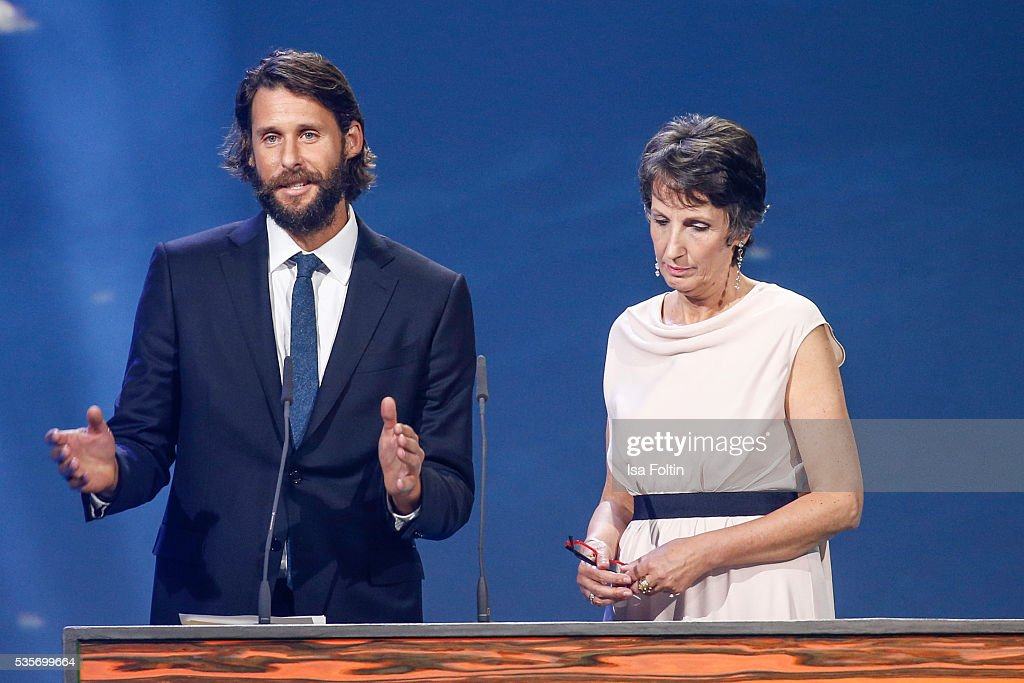 David Mayer de Rothschild and Heike Schiffler during the Green Tec Award at ICM Munich on May 29, 2016 in Munich, Germany.