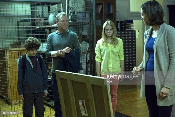 David Mazouz Kiefer Sutherland Saxon Sharbino and Samantha Whitaker in the 'Two of a Kind' episode of TOUCH airing Friday April 5 2013 on FOX