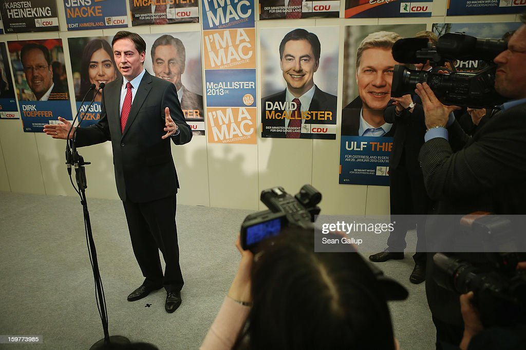 David McAllister, incumbent gubernatorial candidate of the German Christian Democrats (CDU), gestures while speaking to supporters at the Lower Saxony state parliament after initial poll results gave the CDU the highest number of votes following elections in Lower Saxony on January 20, 2013 in Hanover, Germany. Many see the Lower Saxony election as a bellwether for national elections scheduled for later this year.