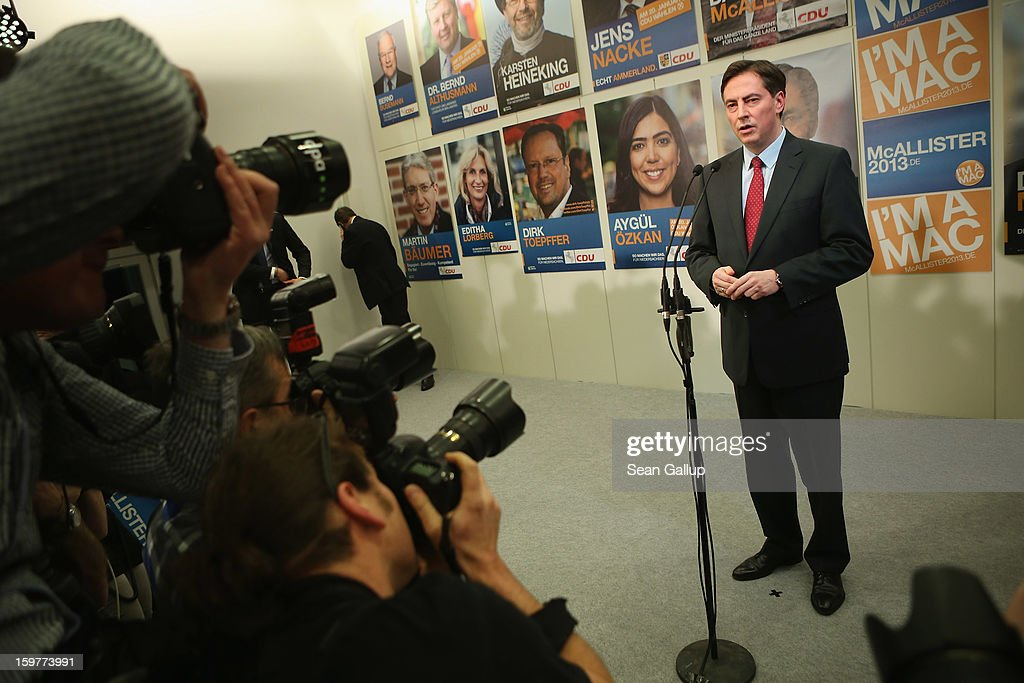 David McAllister, incumbent gubernatorial candidate of the German Christian Democrats (CDU), speaks to supporters at the Lower Saxony state parliament after initial poll results gave the CDU the highest number of votes following elections in Lower Saxony on January 20, 2013 in Hanover, Germany. Many see the Lower Saxony election as a bellwether for national elections scheduled for later this year.