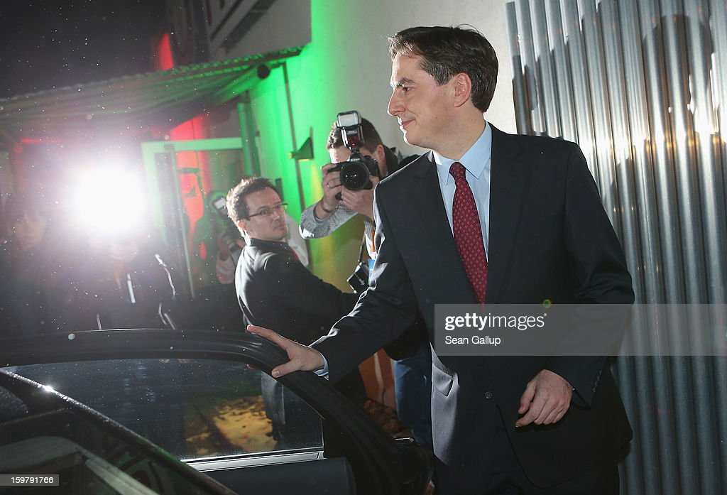 David McAllister, incumbent gubernatorial candidate of the German Christian Democrats (CDU), departs from a CDU election night party following elections in Lower Saxony that left a hairline win for a Social Democrats (SPD) and Greens Party coalition on January 20, 2013 in Hanover, Germany. Many see the Lower Saxony election as a bellwether for national elections scheduled for later this year.
