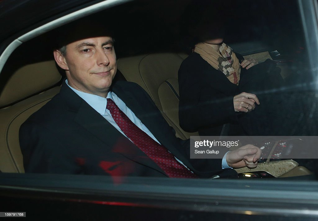 David McAllister, incumbent gubernatorial candidate of the German Christian Democrats (CDU), and his wife Dunja depart from a CDU election night party following elections in Lower Saxony that left a hairline win for a Social Democrats (SPD) and Greens Party coalition on January 20, 2013 in Hanover, Germany. Many see the Lower Saxony election as a bellwether for national elections scheduled for later this year.