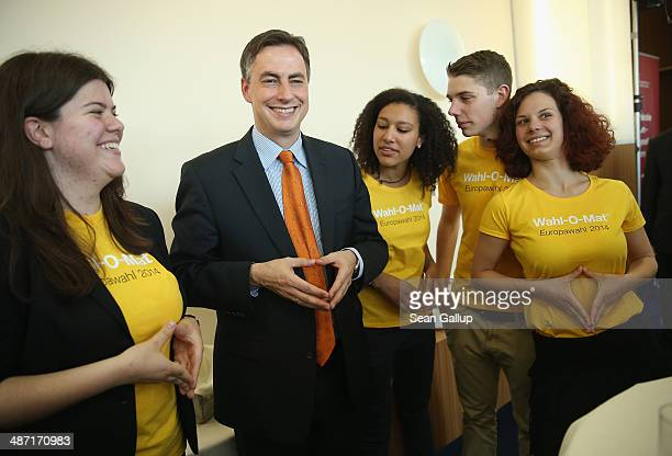 David McAllister lead candidate of the German Christian Democrats in upcoming European parliamentary elections makes a gesture typical of German...