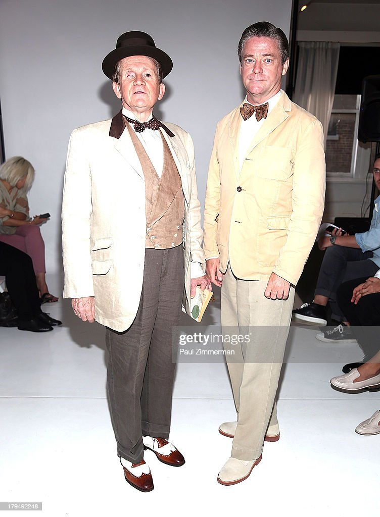 David McDermott (L) and Peter McGough attend the Organic By John Patrick show during Spring 2014 Mercedes-Benz Fashion Week on September 4, 2013 in New York City.
