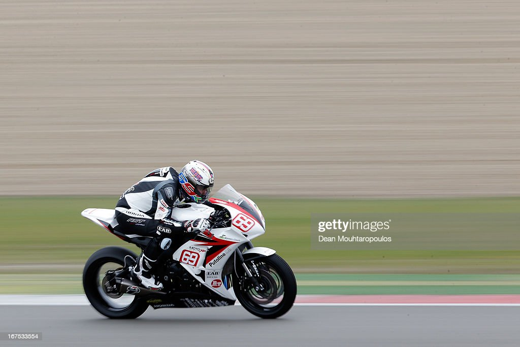 David McFadden of South Africa on the Honda CBR1000RR for EAB Ten Kate Junior Team competes during the Superstock 1000 FIM Cup Practice Session at TT Circuit Assen on April 26, 2013 in Assen, Netherlands.