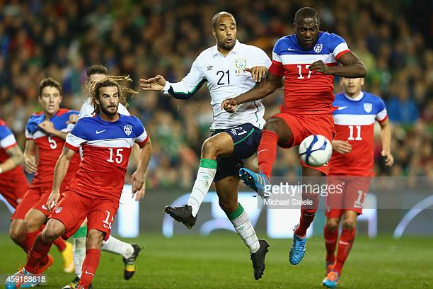 David McGoldrick of Ireland challenges Jozy Altidore of USA during the International Friendly match between the Republic of Ireland and USA at the...