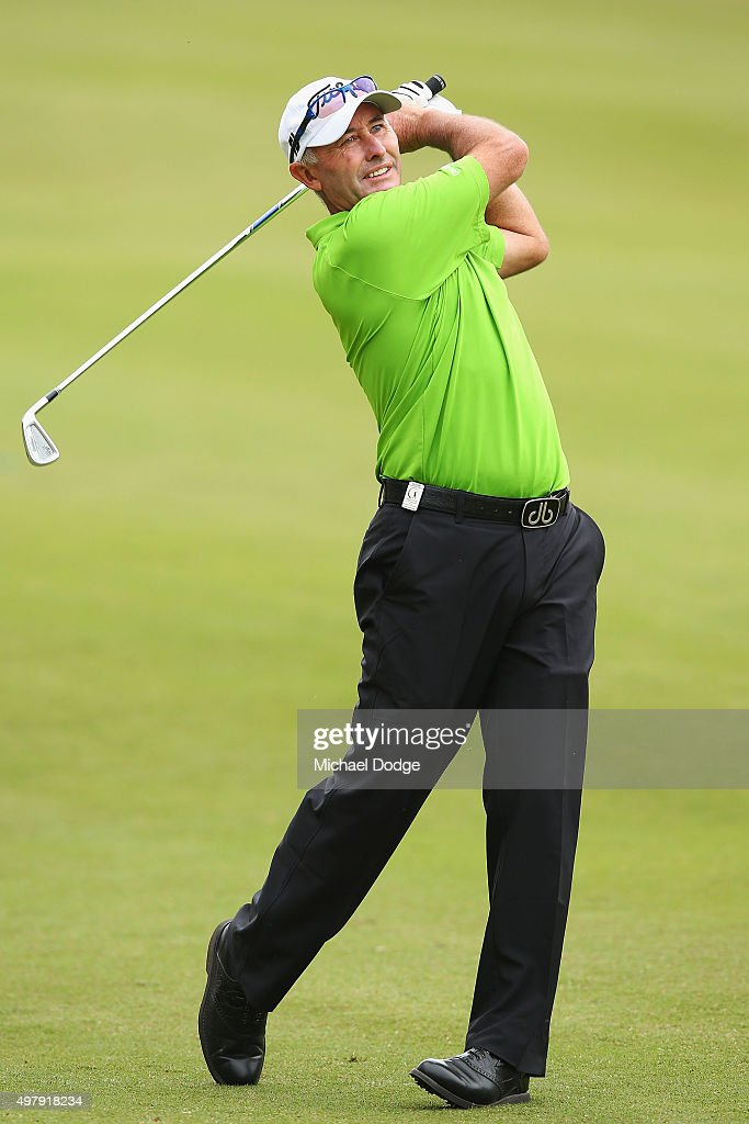 David McKenzie of Australia hits an approach shot during day two of the 2015 Australian Masters at Huntingdale Golf Club on November 20 2015 in...