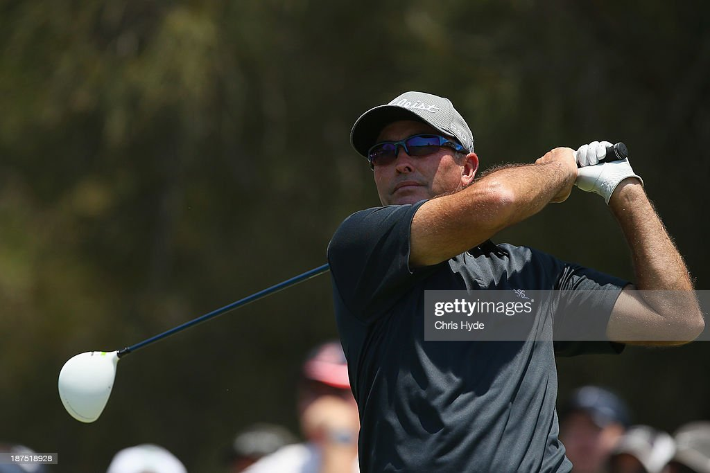 David McKenzie of Australia plays his tee shot during day four of the PGA Royal Pines on November 10, 2013 in Gold Coast, Australia.