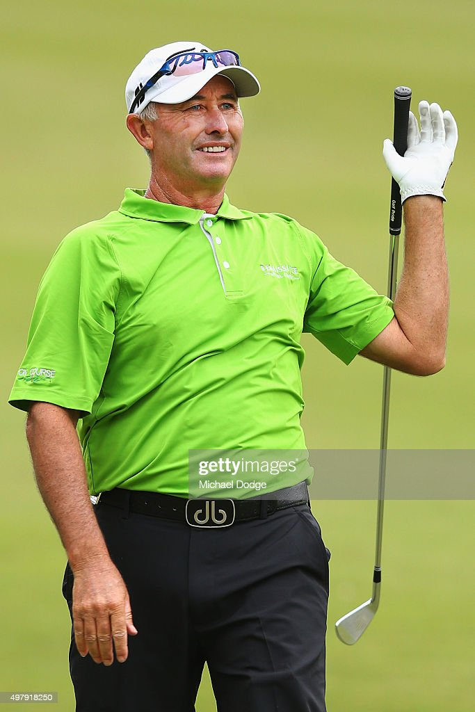David McKenzie of Australia reacts after hitting an approach shot during day two of the 2015 Australian Masters at Huntingdale Golf Club on November...