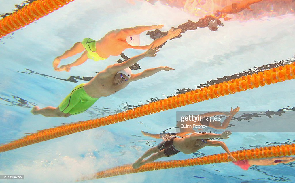 <a gi-track='captionPersonalityLinkClicked' href=/galleries/search?phrase=David+McKeon+-+Swimmer&family=editorial&specificpeople=13412941 ng-click='$event.stopPropagation()'>David McKeon</a> and <a gi-track='captionPersonalityLinkClicked' href=/galleries/search?phrase=Grant+Hackett+-+Swimmer&family=editorial&specificpeople=162687 ng-click='$event.stopPropagation()'>Grant Hackett</a> of Australia compete in the Men's 200 Metre Freestyle during day two of the 2016 Australian Swimming Championships at the South Australia Aquatic Centre on April 8, 2016 in Adelaide, Australia.