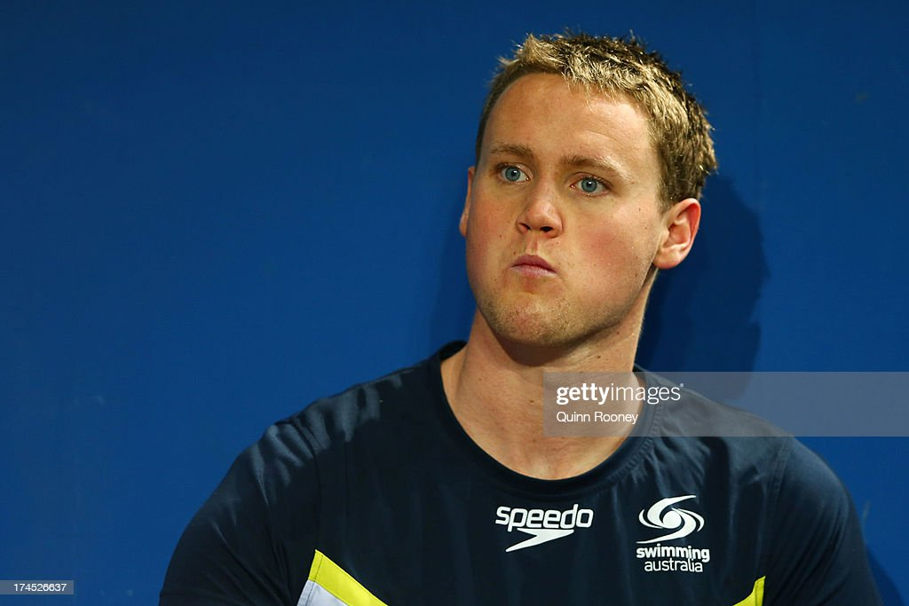 <a gi-track='captionPersonalityLinkClicked' href=/galleries/search?phrase=David+McKeon+-+Swimmer&family=editorial&specificpeople=13412941 ng-click='$event.stopPropagation()'>David McKeon</a> of Australia looks on during a swim training session on day eight of the 15th FINA World Championships at Palau Sant Jordi on July 27, 2013 in Barcelona, Spain.
