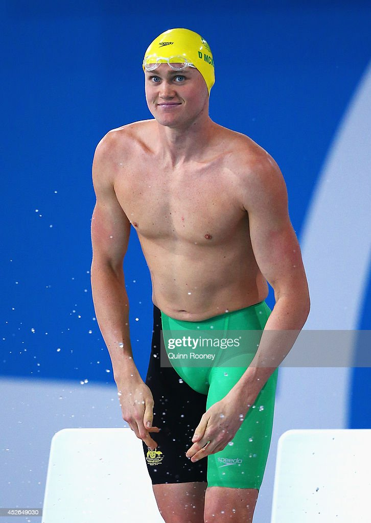 <a gi-track='captionPersonalityLinkClicked' href=/galleries/search?phrase=David+McKeon+-+Swimmer&family=editorial&specificpeople=13412941 ng-click='$event.stopPropagation()'>David McKeon</a> of Australia looks on prior to the Men's 200m Freestyle Heat 3 at Tollcross International Swimming Centre during day two of the Glasgow 2014 Commonwealth Games on July 25, 2014 in Glasgow, Scotland.