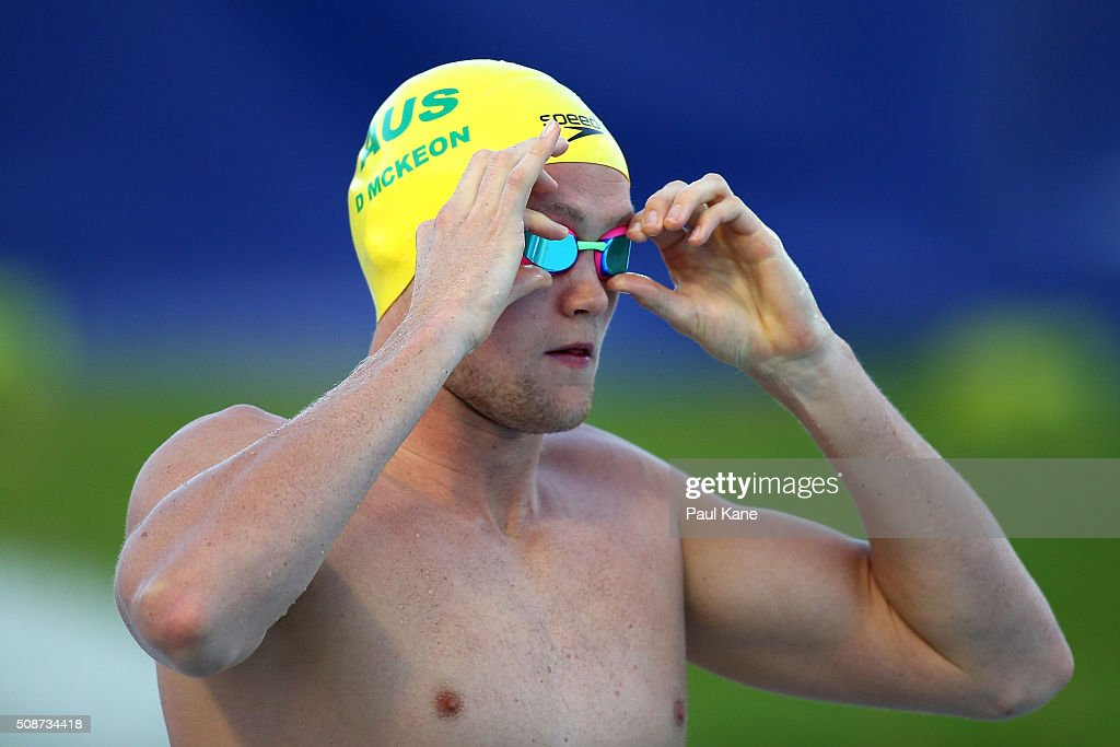 <a gi-track='captionPersonalityLinkClicked' href=/galleries/search?phrase=David+McKeon+-+Swimmer&family=editorial&specificpeople=13412941 ng-click='$event.stopPropagation()'>David McKeon</a> of Australia prepares for the Men's 1500 Metre Freestyle during the 2016 Aquatic Superseries at HBF Stadium on February 6, 2016 in Perth, Australia.