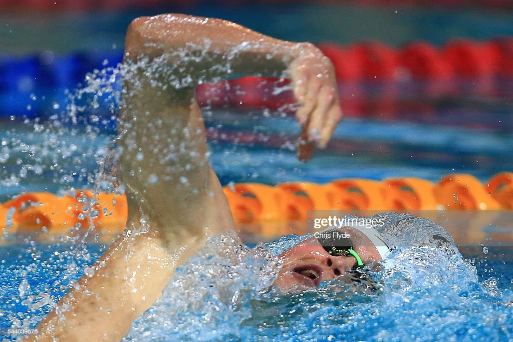 <a gi-track='captionPersonalityLinkClicked' href=/galleries/search?phrase=David+McKeon+-+Swimmer&family=editorial&specificpeople=13412941 ng-click='$event.stopPropagation()'>David McKeon</a> swims in the Mens 400 Metre Freestyle during the 2016 Australian Swimming Grand Prix at the Chandler Sports Centre on July 1, 2016 in Brisbane, Australia.