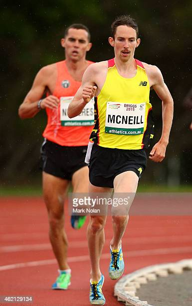 David McNeill of Victoria competes in the mens 5000 metres during the Briggs Athletics Classic on January 25 2015 in Hobart Australia