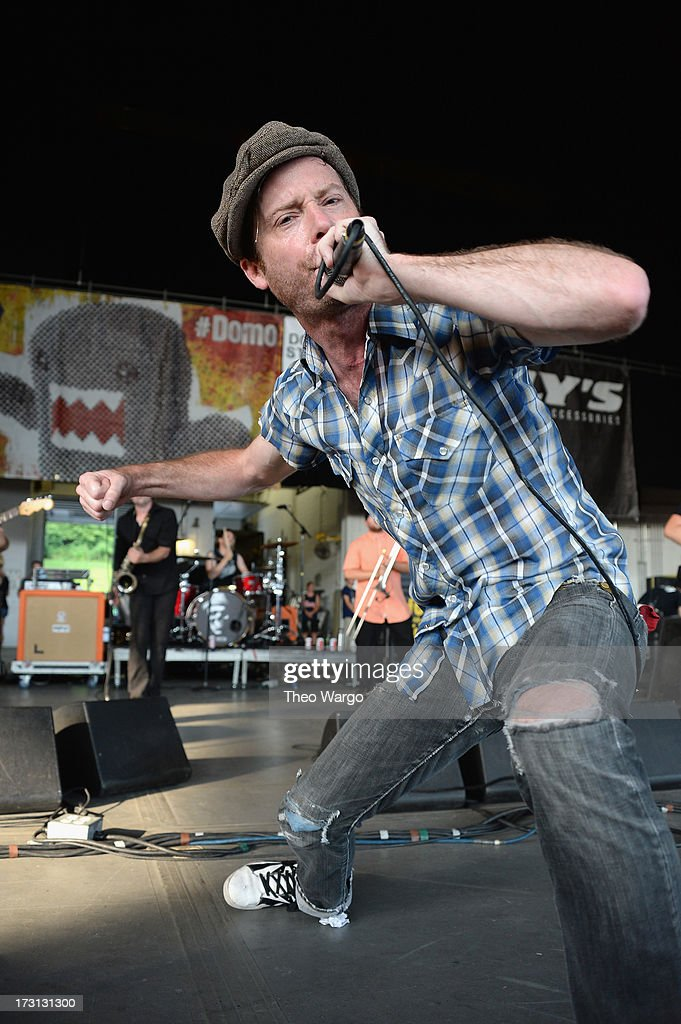 David McWane of Big D and the Kids Table performs during Warped Tour 2013 at PNC Bank Arts Center on July 7, 2013 in Holmdel, New Jersey.