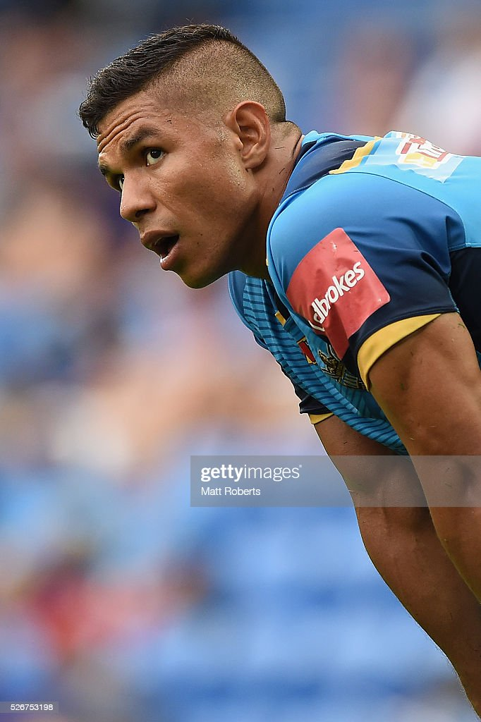 David Mead of the Titans looks on during the round nine NRL match between the Gold Coast Titans and the Melbourne Storm on May 1, 2016 in Gold Coast, Australia.