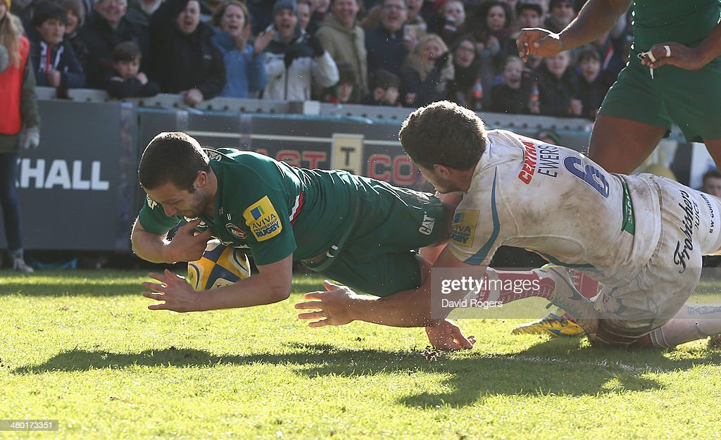 David Mele of Leicester dives over for his second try during the Aviva Premiership match between Leicester Tigers and Exeter Chiefs at Welford Road on March 23, 2014 in Leicester, England.