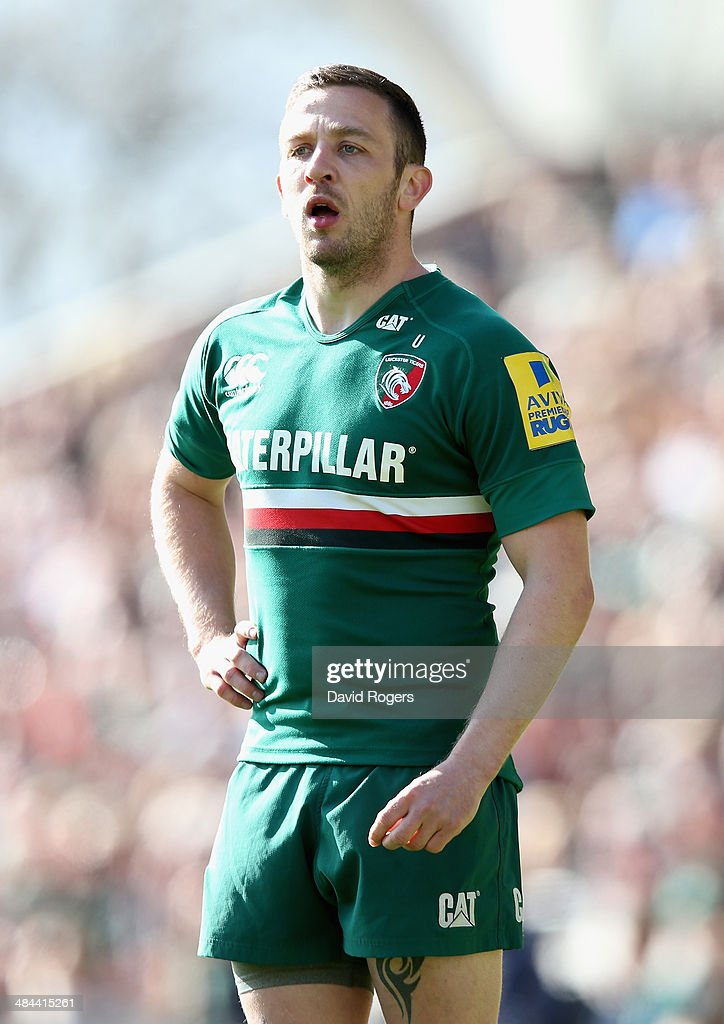 David Mele of Leicester looks on during the Aviva Premiership match between Leicester Tigers and London Wasps at Welford Road on April 12, 2014 in Leicester, England.