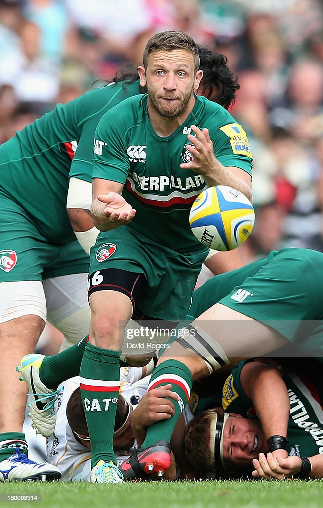 David Mele of Leicester passes the ball during the Aviva Premiership match between Leicester Tigers and Worcester Warriors at Welford Road on September 8, 2013 in Leicester, England.