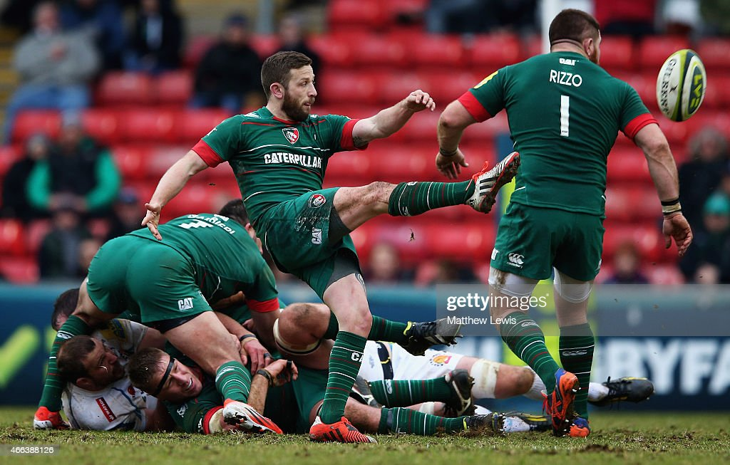 David Mele of Leicester Tigers clears the ball during the LV= Cup: Semi Final match between Leicester Tigers and Exeter Chiefs at Welford Road on March 15, 2015 in Leicester, England.