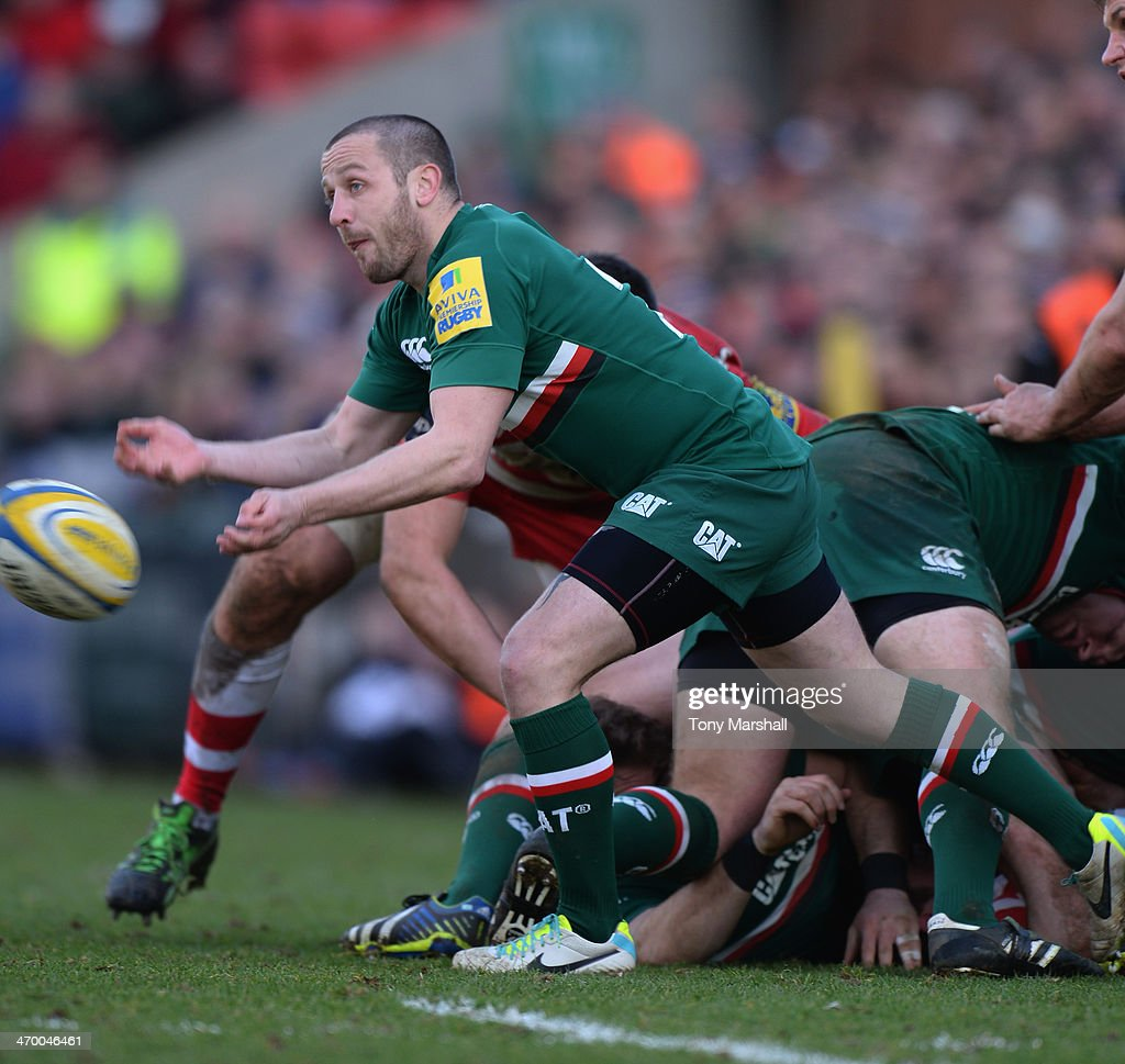 David Mele of Leicester Tigers during the Aviva Premiership match between Leicester Tigers and Gloucester at Welford Road on February 16, 2014 in Leicester, England.