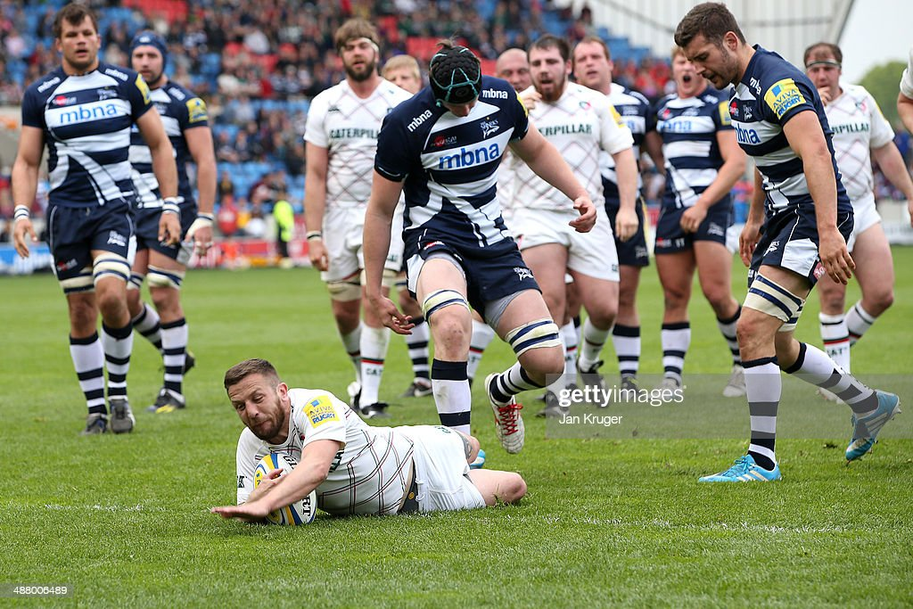 David Mele of Leicester Tigers goes over for his try during the Aviva Premiership match between Sale Sharks and Leicester Tigers at AJ Bell Stadium on May 3, 2014 in Salford, England.
