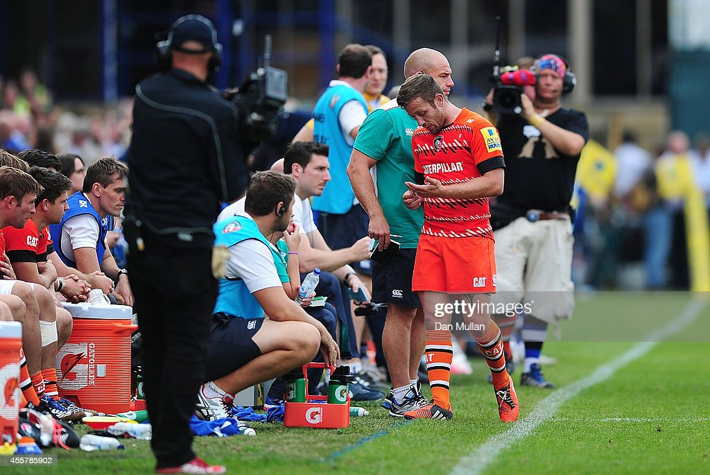 David Mele of Leicester Tigers leaves the field after being shown a red card during the Aviva Premiership match between Bath and Leicester Tigers at the Recreation Ground on September 20, 2014 in Bath, England.