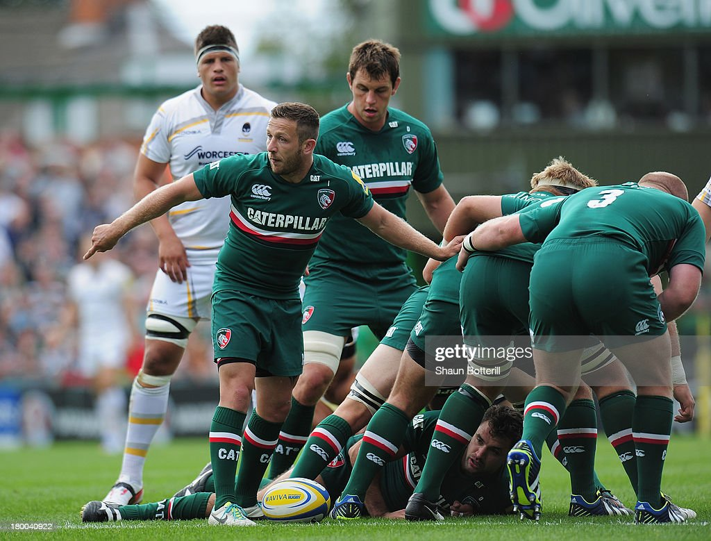 David Mele of Leicester Tigers looks on during the Aviva Premiership match between Leicester Tigers and Worcester Warriors at Welford Road on September 8, 2013 in Leicester, England.