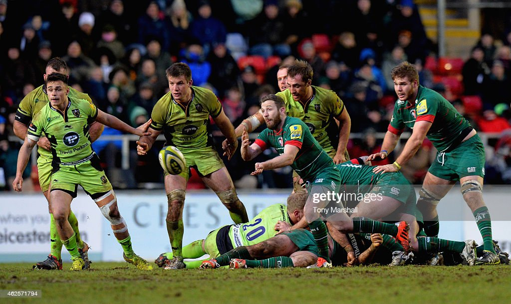David Mele of Leicester Tigers passes the ball during the LV= Cup match between Leicester Tigers and Northampton Saints at Welford Road on January 31, 2015 in Leicester, England.
