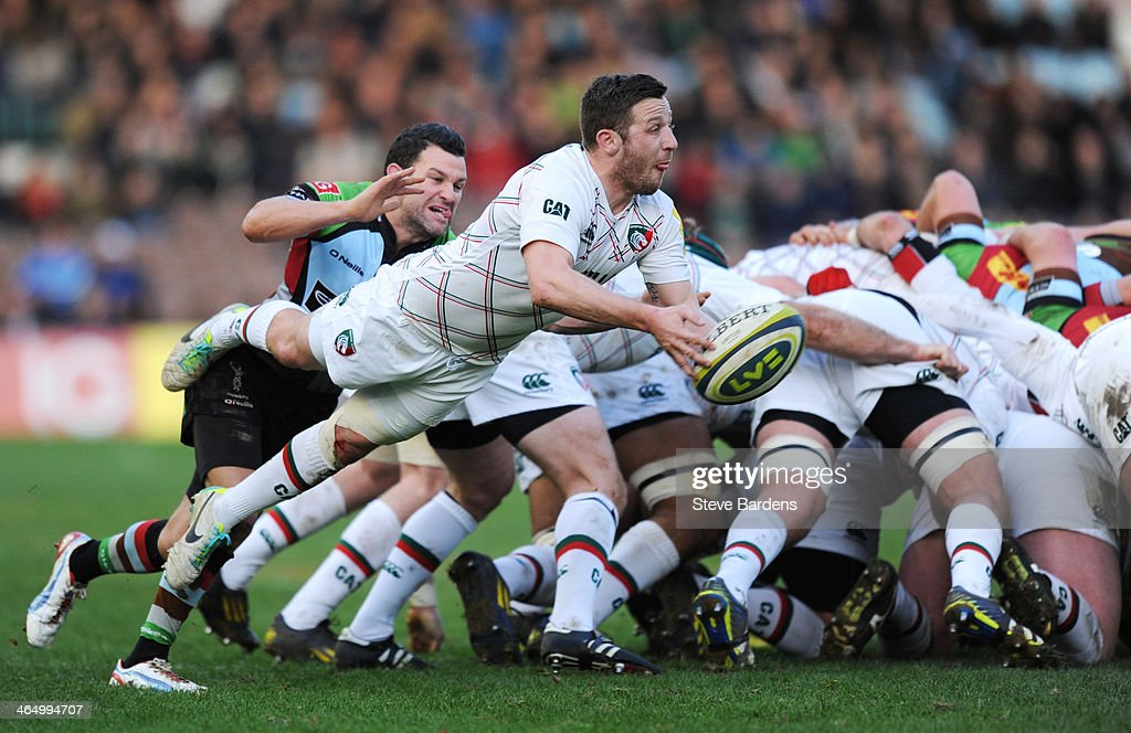 David Mele of Leicester Tigers passes the ball during the LV= Cup match between Harlequins and Leicester Tigers at Twickenham Stoop on January 25, 2014 in London, England.