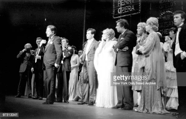 David Merrick announces death of legendary choreographer and director Gower Champion at curtain call on opening night of Broadway show '42nd Street'...