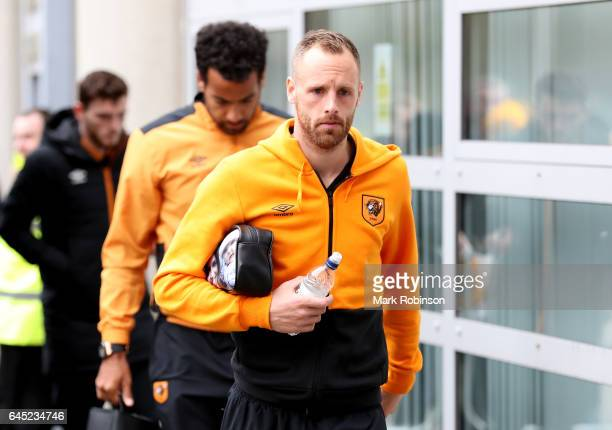 David Meyler of Hull City arrives at the stadium prior to the Premier League match between Hull City and Burnley at KCOM Stadium on February 25 2017...