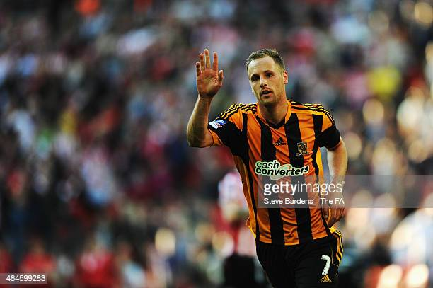 David Meyler of Hull City celebrates after scoring their fifth goal during the FA Cup SemiFinal match between Hull City and Sheffield United at...