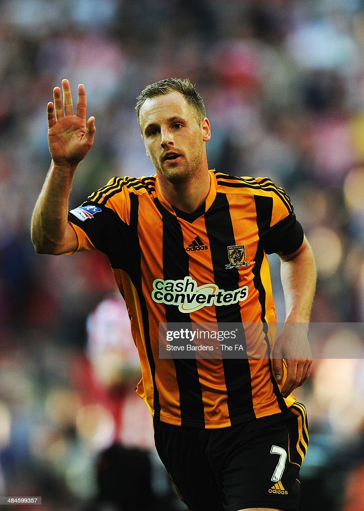 <a gi-track='captionPersonalityLinkClicked' href=/galleries/search?phrase=David+Meyler&family=editorial&specificpeople=5472116 ng-click='$event.stopPropagation()'>David Meyler</a> of Hull City celebrates after scoring their fifth goal during the FA Cup Semi-Final match between Hull City and Sheffield United at Wembley Stadium on April 13, 2014 in London, England.